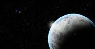 在空间的岩石行星与透镜火光 库存图片