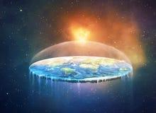 在空间的平的地球 皇族释放例证
