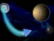 在空间的行星在明亮的星3d例证附近 免版税库存图片