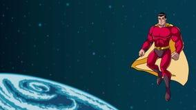 在空间的超级英雄飞行 向量例证