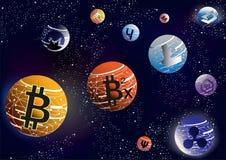 在空间的Cryptocurrency 库存照片