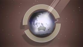 在空间动画的地球自转 股票录像