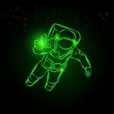 在空间和抓住的宇航员飞行光在他的手上 库存例证