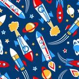 在空间无缝的样式的火箭队 免版税库存照片
