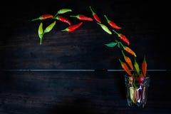 在空间木桌上的新鲜的辣椒给的t做广告 免版税库存照片