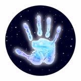 在空间的光亮的冰冷的handprint 免版税库存照片