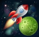 在空间的动画片火箭 库存图片