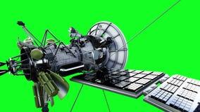 在空间的卫星 高度详细,现实行动和反射 4K绿色屏幕动画 库存例证