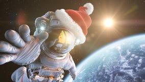 在空间的圣诞老人 库存照片