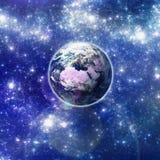 在空间的地球。 免版税库存照片