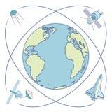 在空间的地球 围绕地球旋转的卫星和航天器 免版税库存图片