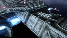 在空间的未来派太空船 地球行星视图 现实4K动画 股票视频