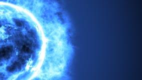 在空间的未来派抽象蓝色太阳与火光 巨大未来派背景 库存图片