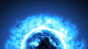 在空间的未来派抽象蓝色太阳与火光 巨大未来派背景 免版税图库摄影