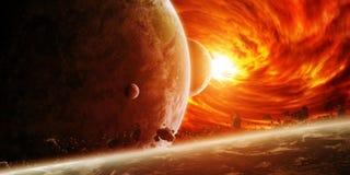 在空间的红色星云与行星地球 免版税库存照片