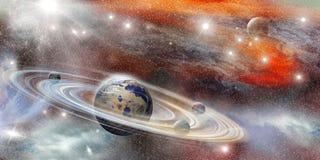 在空间的行星与许多圆环系统 库存图片
