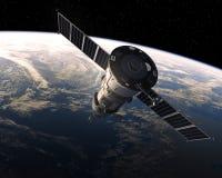 在空间的货物航天器 3d场面 免版税库存照片