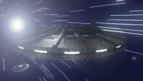 在空间经线的飞碟在宇宙4K 库存例证