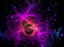 在空间,科学幻想小说的紫色分数维星系 库存照片