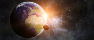 在空间3D这个图象furnis的翻译元素的行星地球 图库摄影