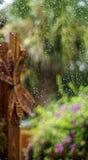 在窗口五颜六色的佛罗里达庭院的水 免版税库存照片