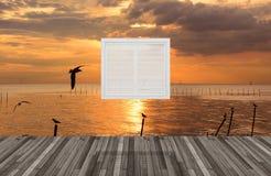 在窗口后的风景, 3D 免版税图库摄影