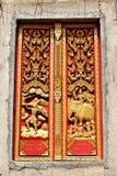 在窗口寺庙的造型艺术 免版税库存图片