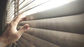 在窗口木窗帘的播种的手 看在窗口外面的某人 免版税库存照片