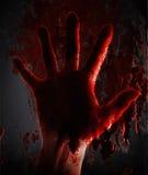 在窗口的可怕血液手在晚上 免版税图库摄影
