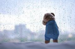 在窗口的哭泣的玩具熊在下雨天 免版税库存图片