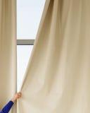 在窗口的帷幕 免版税库存照片