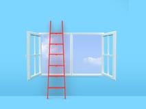在窗口的梯子 免版税库存图片