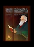 在窗口的老人读书 免版税库存图片
