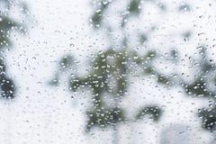 在窗口的雨下落有背景 库存图片