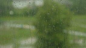在窗口的雨珠在多云天气在城市 股票视频