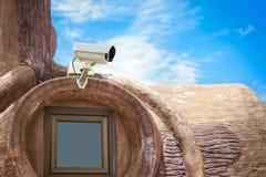 在窗口的CCTV 免版税图库摄影