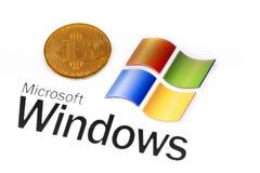 在窗口背景商标的Bitcoin  免版税库存照片