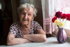 在窗口附近的年长愉快的妇女画象在房子里 免版税库存照片