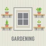 在窗口从事园艺的概念旁边的盆栽植物 免版税库存图片