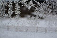 在窗口17的水晶雪花 图库摄影