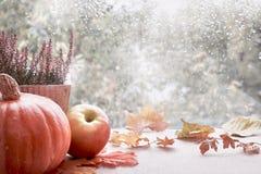 在窗台板的南瓜和秋叶在一个雨天 免版税库存照片