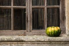在窗台的美丽的南瓜在老窗口的背景 库存照片