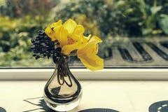在窗台的花瓶 图库摄影