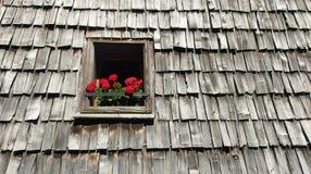 在窗槛花箱的花在木木瓦屋顶 库存图片