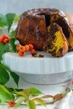 在立场的南瓜大理石花纹蛋糕 库存照片