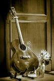 在立场的吉他 库存照片