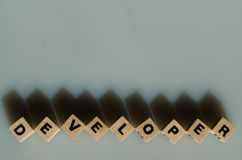在立方体写的词开发商 库存照片