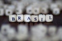 在立方体背景写的巴西 免版税图库摄影