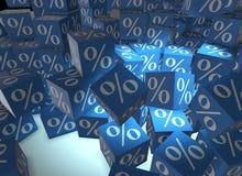 在立方体- 3d的百分率符号翻译 库存图片