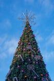 在立陶宛的首都的正方形的圣诞树 库存照片